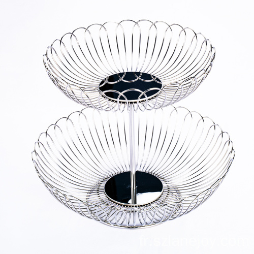 Modern High Quality 2 tier natural fruit storage Vegetable Basket Metal Fruit Basket For Kitchen